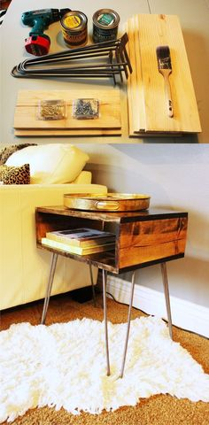 Mesita DIY con pies hairpin - homed.com - DIY Table with Hairpin Legs