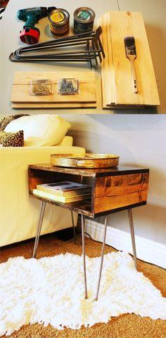 Mesita DIY con pies hairpin - homed.com - DIY Table with Hairpin Legs