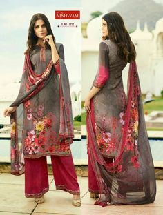 Red and grey color with floral print design kurti and plazo with Shifon Dupatta. Net Lehenga, Lehenga Style, Fancy Kurti, Fancy Sarees, Designer Salwar Suits, Designer Gowns, Western Gown, Long Kurtis, Fancy Gowns