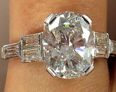 Art Deco 4.01ctw Antique Vintage CUSHION Cut Diamond Engagement Ring in PLATINUM, Circa1930s