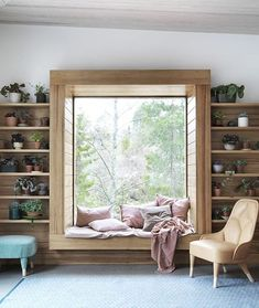 In common room window seat inside area can have laminate with lines Bedroom Windows, Living Room Windows, Living Rooms, Kitchen Living, Living Room White, White Rooms, Small Living, Small Room Bedroom, Small Rooms