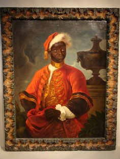 Oil on canvas of a moorish gentleman in 18th century livery.