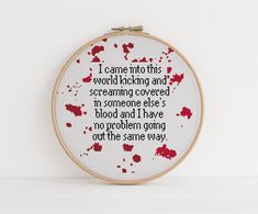 I came into the world kicking a screaming funny Sarcastic Cross counted stitch xstitch pattern - Cross Stitch Cross Stitch Quotes, Cute Cross Stitch, Counted Cross Stitch Patterns, Cross Stitch Designs, Cross Stitch Embroidery, Hand Embroidery, Funny Cross Stitches, Embroidery Patterns, Subversive Cross Stitches