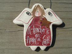 Teachers Gift Salt Dough Angel Ornament