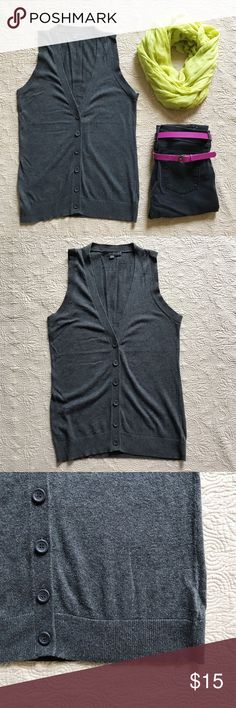 Forever21 Sweater Vest Gray vest. 100% cotton. Long, slouchy fit. Six buttons down the front.  Jeans also available in my closet! Forever 21 Jackets & Coats Vests