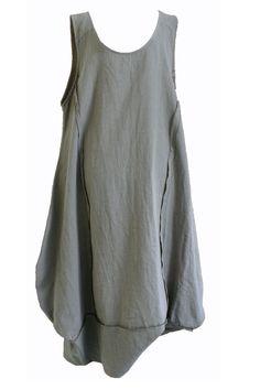 Mouwloze linnen lange jurk met TULPvormige rok khaki Apart van AKH Fashion! | A Lot of a Woman