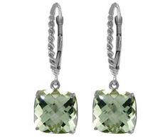 ❤ Sterling Silver Leverback Earrings with Genuine Green Amethysts ❤