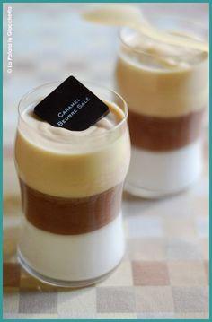 Mousse vaniglia, cioccolato e caramello al burro salato