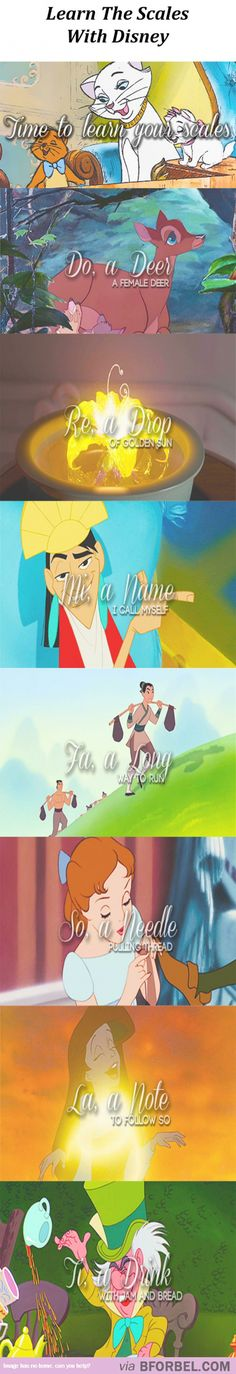 """and that will bring us back to do."""" - Learn the scales with Disney this is the best pin ever. Mixing sound of music and Disney omg ! Disney Pixar, Walt Disney, Disney Girls, Disney And Dreamworks, Disney Love, Disney Magic, Disney Characters, Disney Stuff, Fandoms"""