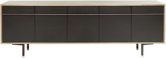 Wud black and gold buffet Materials: Black Washed White Oak, Blackened Cold Rolled Steel, Leather, Brass, Br-R (Brass Encased in Resin) Dimensions: L: 96 in. / D: 17.5 in. / H: 34 in.