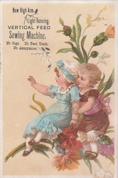 High Arm Vertical Feed Sewing Machine Oswego NY Victorian Trade Card C 1880s