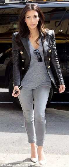 Grey matters Kim Kardashian. Easy to copy. Grey tee and black denim jacket.
