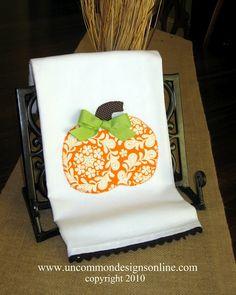 Pumpkin appliqued towel: www.uncommondesignsonline.com