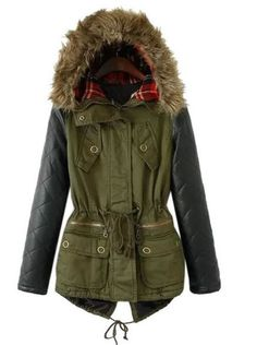 Army Green Hooded Padded Coat With PU Spliced Sleeve