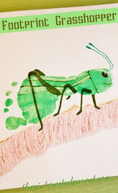 Footprint Grasshopper Craft - one of the cutest crafts I've seen! Insect Crafts, Bug Crafts, Daycare Crafts, Toddler Art, Toddler Crafts, Projects For Kids, Crafts For Kids, Fingerprint Art, Footprint Crafts
