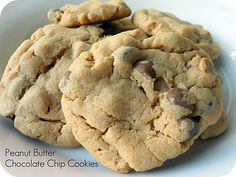 Huge recipe! But so good...Classic Peanut Butter Chocolate Chip Cookies #Recipe #Dessert