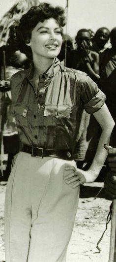 Ava  Gardner on the set of 'Mogambo', 1953 - Costumed by Helen Rose.