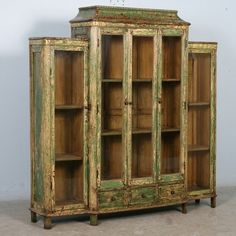 Antique Green Bookcase/display Cabinet With Glass Doors, China Circa 1890