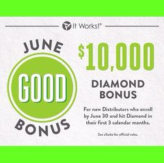 It's not too late, Itworks extended the date! Join before June 30th and still qualify for the 10k BONUS!!   If you're still contemplating, DO IT! Take the chance. What if it changes your life! Let's go to the TOP!!  #BOOM #LOVEMYJOB #JOINME   360-521-5376  www.wrapitwithjess.com