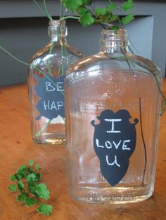 use your fav jar and some chaulk paint, stencil  . . . .Decorative chalkboard on Vintage glass bottle, vase for writing sweet nothings....