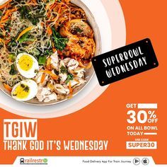 #SuperbowlWednesday: Thank God It's Wednesday!🍜🥣 Get upto 30% off on all bowl!😎 Use code: SUPER30 👉 Follow RailRestro for Food, Travel, and Indian Railways updates! #railrestro #orderfoodintrain #ecatering #railrestroapp #foodorderingapp #Foodondiscount #WednesdayOffer #foodcoupons Jain Recipes, Ethnic Recipes, Veg Thali, Food Coupons, Delivery App, Order Food Online, Tasty, Yummy Food, Train Journey