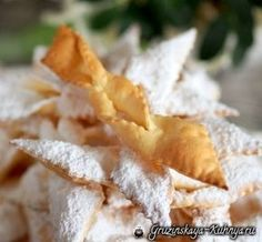 Crispy brushwood in the oven. A delicious recipe Baking Soda Bath, Baking Soda Uses, Baking Recipes For Kids, Cooking Recipes, Kid Desserts, Dessert Recipes, Baking Soda Experiments, Christmas Food Treats, Baking Muffins