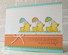 Didn't even occur to me to use the duck stamp from the Easy Events stamp set this way. Scrapbook Paper Crafts, Scrapbook Cards, Scrapbooking, Baby Shower Cards, Baby Cards, Card Making Inspiration, Making Ideas, Paper Cards, Kids Cards