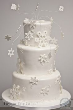 Snowflake Cake- love the snowflakes coming out of the top
