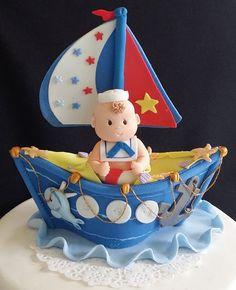Resultado de imagen para como hacer un barco de porcelana fria Nautical Favors, Nautical Cake, Nautical Party, Baby Birthday Cakes, Birthday Cake Toppers, Sailor Cake, Pearl Baby Shower, Boat Cake, Fondant Cake Toppers