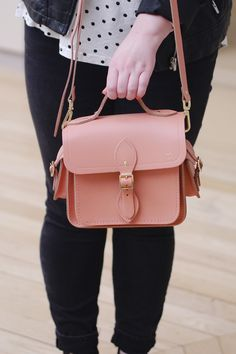 How pretty is this pink satchel from the Cambridge Satchel Company - personalised with a little gold embossed heart!