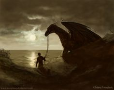 """""""Traveller by ~Mospineq on deviantART"""" Hey Mom look what followed me home! A Dragon! Can we keep him?"""