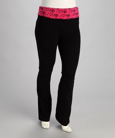 Take a look at this Black & Red I Love Me Plus-Size Yoga Pants by Fame Fashion  on #zulily today!$14.99, regular 39.00