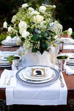 Blue and white table setting, tablescape, centerpiece. Elegant Southern Reception Table - Camille Styles, Inc.