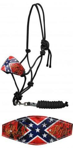 "Showman ® "" Rebel Pride"" cowboy knot bronc halter with removable lead"