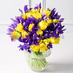 Spring has arrived with this selection of pretty yellow tulips and blue iris. This hand-tied bouquet really captures the spirit of the spring season.