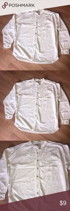 Levi's Men's Collarless Button Shirt Good condition. Vintage style. An off white cream color. Size XL Levi's Shirts Casual Button Down Shirts