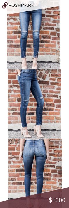 "ARRIVES APRIL ! Midsize Distressed Angle Jeans Distressed Angled Denim is perfect in this medium wash that has subtle whisker and fade details on the front and rips at the knees. Favorite angled silhouette that has a wrap seam to the front with a split at the ankle! Denim is Midrise.  Details  Length: Inseam length on a size small measures 29""  Size: 1 (24-25"") 3 (25-26"") 5 (26-27"") 7 (27-28"") 9 (28""-29"") 11 (29-30"")  Denim is 75% Cotton, 22% Polyester and 3% Spandex. No Trades. Price is…"