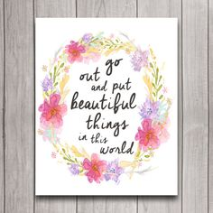 Inspirational Quote Nursery Wall Art Poster Instant Download, Girl Floral Wreath Baby Shower Gift, Woodland Boho Bedroom Decor, Watercolor