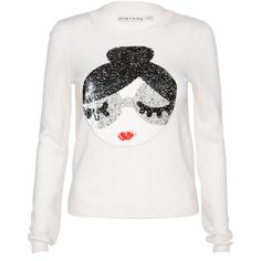 Alice + Olivia Stace Face Sequin Sweater ($330) ❤ liked on Polyvore featuring tops, sweaters, crop top, crewneck sweaters, sequin top, long sleeve crop sweater and crew sweater