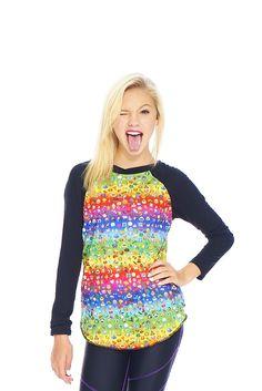 Girls Emoji Rainbow Baseball T-Shirt