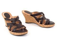 "Born Leather Sandals 3"" Cork Wedge Heel Hand Crafted Slip On US 8 M Brown  EU 39 #Brn #Slides #SpecialOccasion"