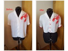 Upcycling an old blouse, inspired by vintage handpainted blouses from the 1940s.  I painted the lobster on it, shortened the length, added some red buttons and changed the sleeves!
