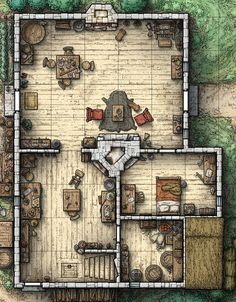 Cabin 1 bedroom stairs up trapdoor down Floors Floors Fantasy city map Tabletop rpg maps Dungeon maps