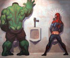 Hulk and Spiderman Take a Whizz