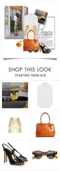 """""""Gold Fever"""" by patagonia-gifts ❤ liked on Polyvore featuring Balenciaga, Dolce&Gabbana, Fiorelli, Gucci, gold, jewelry, necklace and outfits"""