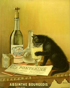 Absinthe Poster depicting a charming design for Absinthe Bourgeois, shows an Absinthe loving black cat enjoying a glass of the company's product. Nicknamed the 'Chat Noir', it has became one of the best-loved Absinthe images; original poster size 138 x Art Vintage, Vintage Wine, Vintage Ads, Vintage Images, Vintage Prints, Vintage Posters, Vintage Colors, Retro Posters, Vintage Food