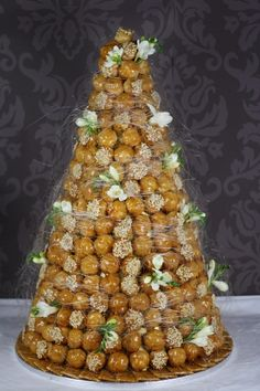 Croquembouche with Fresh Flowers from Le Papillon Patisserie (Traditional French cake used for communions and weddings) French Wedding Cakes, Italian Wedding Cakes, French Cake, Floral Wedding Cakes, Italian Weddings, Cake Wedding, Beautiful Cakes, Amazing Cakes, French Patisserie
