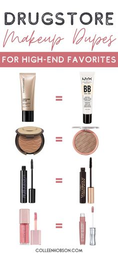 12 affordable drugstore makeup dupes for our favorite high-end makeup products that will save you money and keep you looking beautiful. #drugstoremakeupdupes Mac Eyeshadow Dupes, Best Drugstore Makeup, Drugstore Makeup Dupes, Beauty Dupes, Best Makeup Products, Beauty Products, Elf Dupes, Lipstick Dupes, Hair Products