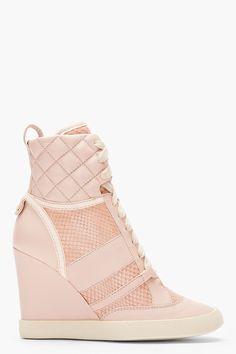 CHLOE Pink snakeskin Wedge Sneakers / $895
