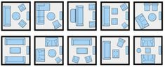10 Ways to arrange furniture in small space...I pick (1,2). I can't imagine living on my own without a sectional.